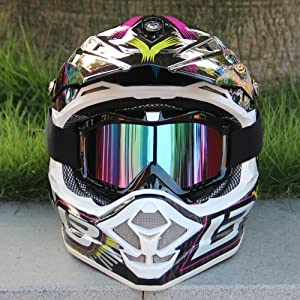 Motocross Goggles, Motorcycle Goggles Grip For Helmet, Dmeixs Anti UV Windproof Dustproof Anti Fog Glasses for ATV Off Road Racing with Cool Look Headwear, Colorful Lens, 2 in 1 (Color: Colorful Lens, Tamaño: 7.48*4.52*3.93inch)