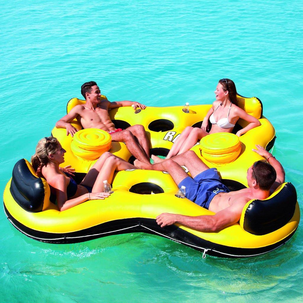 große Badeinsel Luftmatratze 4 Personen Pool Schwimmbad Badesee