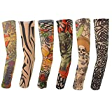 Sacow Tattoo Arm Sleeves, 6Pcs Nylon Elastic Temporary Tattoo Sleeve Designs Body Arm Stockings(38x8.4 cm) (Color: Multicolor, Tamaño: 38x8.4 cm)