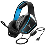 Mpow EG1 Gaming Headset, 7.1 Surround Sound, Dual 60mm Powerful Driver Gaming Headphones with Noise Cancelling Microphones, Over-Ear Soft EarPad, LED Light, Stereo Bass USB Headset for PC/PS4/Xbox One (Color: Blue)