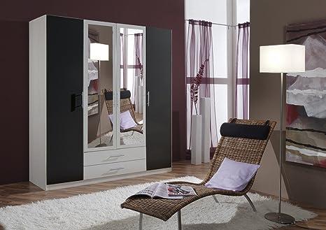 Dreams4Home Drehturenschrank 'Isa XL, Schlafzimmer, Schrank, weiß, anthrazit, schwarz, Kleiderschrank, 2 Spiegel, Spiegelschrank