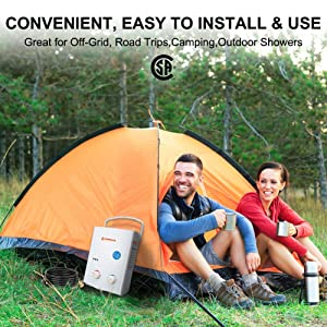 Camplux 5L 1.32 GPM Outdoor Portable Propane Tankless Water Heater (Color: White, Tamaño: pack of 1)