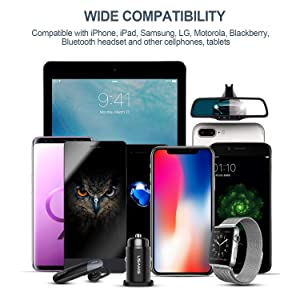 Car Charger, USAMS 4.8A Metal Dual USB Ports Car Charger Adapter Fast Charge for iPhone X 8 7 6 Plus iPad Samsung Galaxy S9 S8 NOTE9 Plus LG Nexus Son
