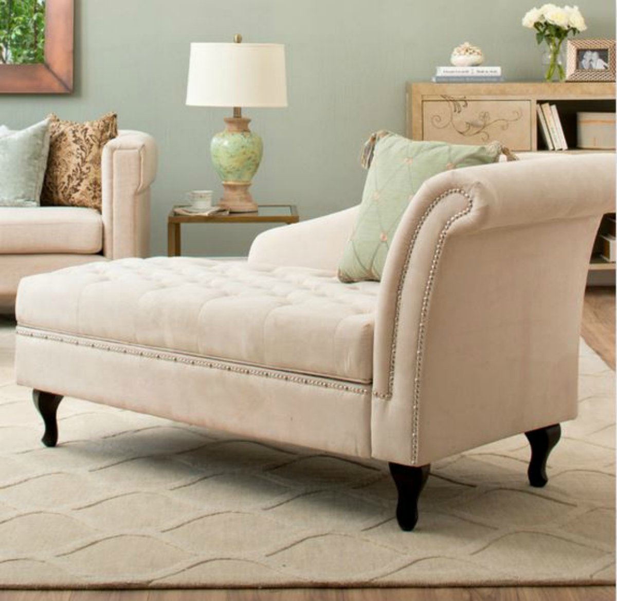 Traditional Storage Chaise Lounge - This Luxurious Lounger ...
