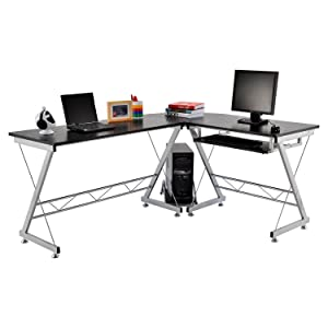 Homcom Corner Computer Desk for the Home Office Sturdy Furniture Workstation New PC Black       reviews and more information