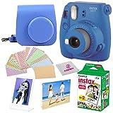 Fujifilm Instax Mini 9 Instant Fuji Camera, Cobalt Blue + Camera Case + Instant Mini 9 Film Twin Pack + instax Picture Frame + Magnet Frame + 20 Border Stickers Kit +Free Cleaning Cloth (Cobalt Blue) (Color: Cobalt Blue)