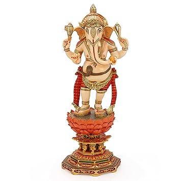 15 Inch Ganesh Ganpati Statue Stone Sculpture Pinted Marble Ganesha Diwali Decor Gifts