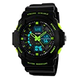 BesWLZ Multi Function Mens Military DualTime Digital Analog Chronograph Sport Wrist Watch 50M Water Resistant Waterproof for Boy Girls Child Kids Gift (Green)