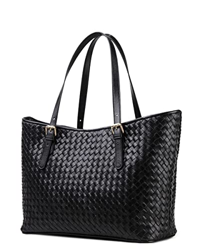 Cwmalls Womens Woven Leather Tote CW255166