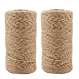 Jute Twine 656 Feet Natural Arts Crafts Jute Rope Durable Packing String for Photos, Gifts, Crafts and Gardening Applications(2pcs x 328feet) (Color: Brown, Tamaño: 2PCS/3Ply)