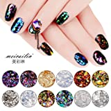 Sindy 12 Colors Chameleon Nail Sequins Glitter Dust Shinning Nail Mirror Glitter Paillette Powder DIY Decoration Chrome Pigment (Color: Chameleon)