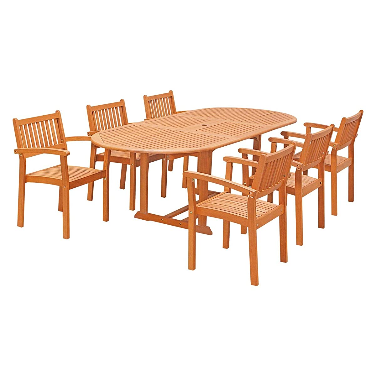 VIFAH V144SET30 7 Piece Outdoor Wood Dining Set with Oval Extension Table and Stacking Chairs