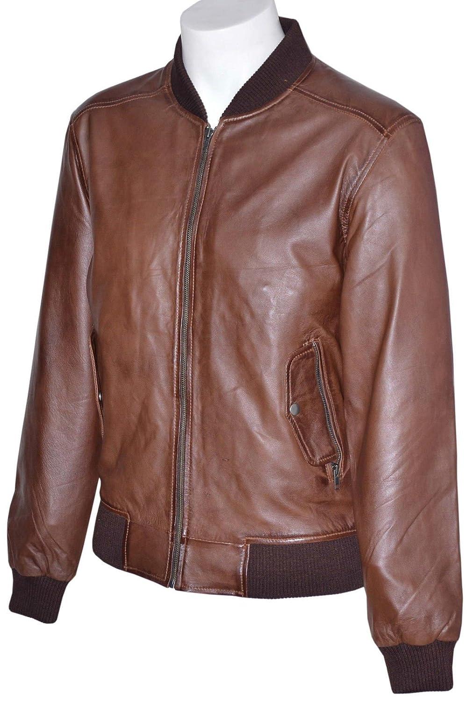 Mann Brown Bomber Retro 70er Jahre Style Echtes weiches Leder-Jacken Alle Größen kaufen