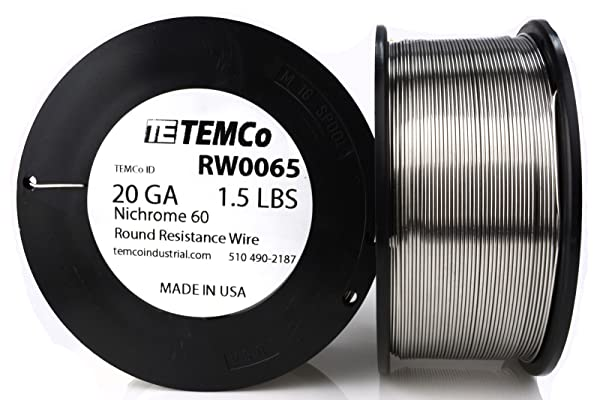 TEMCo Nichrome 60 series wire 20 Gauge 1.5 lb (521 ft) Resistance AWG ga (Tamaño: 20 AWG)