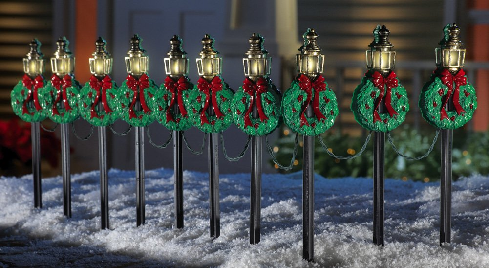 christmas lamp posts pathway stakes set of 10 set your yard aglow with the nostalgic look of old fashioned gaslights set of 10 lights plug into ac outlet
