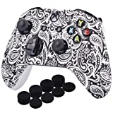 YoRHa Printing Rubber Silicone Cover Skin Case for Xbox One S/X Controller x 1(Flowers&White) With PRO Thumb Grips x 8 (Color: leaves blue, Tamaño: Printing)