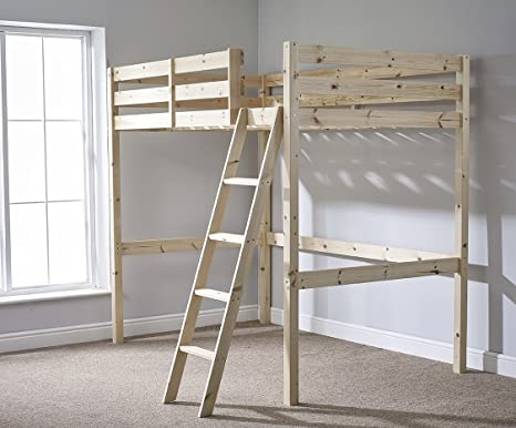 Double 4ft 6 Loft bunkbed - wooden High Sleeper - Can be used by Adults - TWO strong centre rails