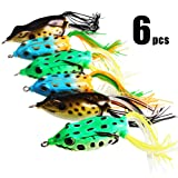 Sougayilang Hollow Frog Fishing Lures Soft Topwater Baits with Tackle Box for Bass Snakehead Saltwater Freshwater Fishing (6Pcs Frog Lure Only) (Color: 6Pcs Frog Lure Only)