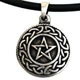 Tiny Celtic Star Pentagram Pentacle Pagan Wicca Pewter Pendant W Black PVC Cord
