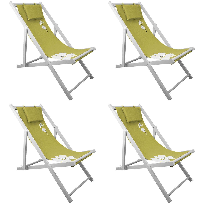 4x Campingstuhl Liegestuhl 4-fach verstellbar Strandstuhl Gartenstuhl Klappstuhl Strandliege Campingliege – Grün bestellen