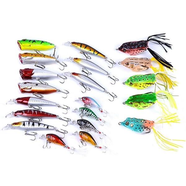 5Pcs Large Minnow Saltwater Fishing Lure Crankbait Hooks Bass Soft Bait Kit Gift
