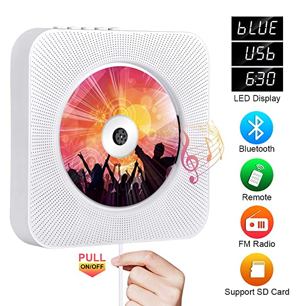 Portable CD Player with Bluetooth, Qoosea Wall Mountable CD Players Music Player Home Audio Boombox with Remote Control FM Radio Built-in HiFi Speakers LCD Display MP3 Headphone Jack AUX Input Output (Color: White)