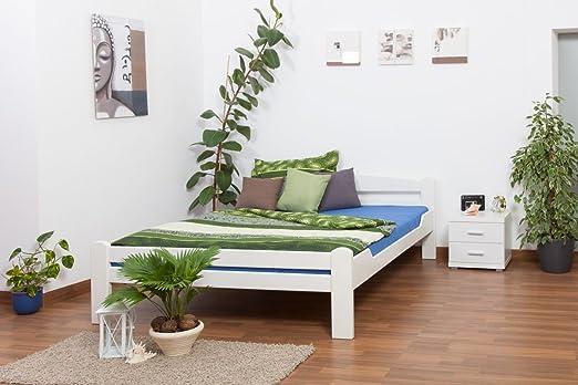 "Massivholzbett ""Easy Sleep"" K4, 180 x 200 cm Buche Vollholz massiv weiß lackiert"