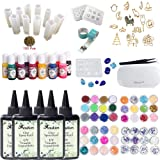 5 Pieces 100ML Crystal Epoxy Resin UV Glue, 1 Lamp Tweezer 48 Decoration 13Pcs Silicone Mould 100 Rings 13 Color Liquid Pigment 17 Metal Jewelry with 2X 5 Meters Tape For DIY Beauty (Tamaño: 500Resin+lamp+mold+decor+13pigment)