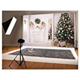 10x6.5ft Green Christmas Tree Photo Backgrounds Wrinkle Free White Fireplace Cute Rabbit Gift Photography Backdrops for Child (Color: christmas2, Tamaño: 10x6.5ft)