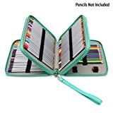 BTSKY Deluxe PU Leather Pencil Case For Colored Pencils - 120 Slot Pencil Holder with Handle Strap Handy Colored Pencil Box Large(Green) (Color: Green)