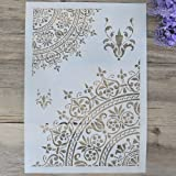 Mandala Stencil Template for Wall Furniture Paiting DIY Decor (A3 Size) (Tamaño: A3 Size)