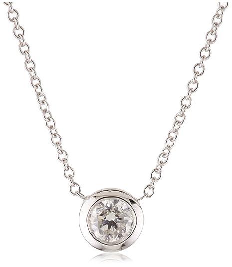Kobelli 1/3 Cttw Round Diamond Solitaire Pendant Necklace