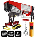 Partsam 220 lbs Lift Electric Hoist Crane Remote Control Power System, Zinc-Plated Steel Wire Overhead Crane Garage Ceiling Pulley Winch w/Premium Straps (UL/CUL Approval, w/Emergency Stop Switch) (Color: Booty bands-modelKJ281, Tamaño: 220 lbs w/ 2 Slings)