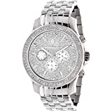 LUXURMAN Mens Real Diamond Watch 0.25ct (Color: Steel)