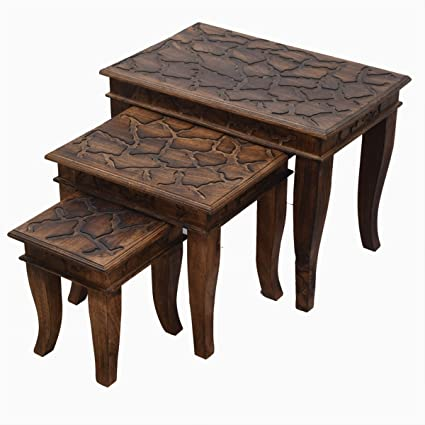Store Indya Vintage Style Wooden Nesting Tables Stackable Set of 3 for Living Bedroom Multiutility Side End Coffee Tables Home Furniture Décor