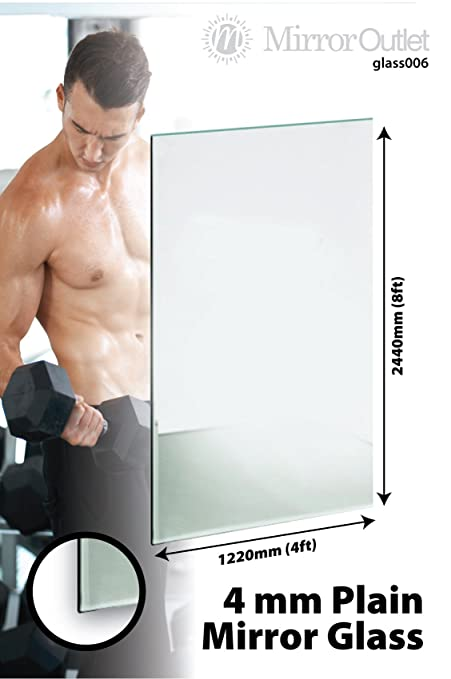 Large Mirror Glass Frameless Safety Backed Home Gym 3 X 8Ft X 4Ft, 244cm X 122cm