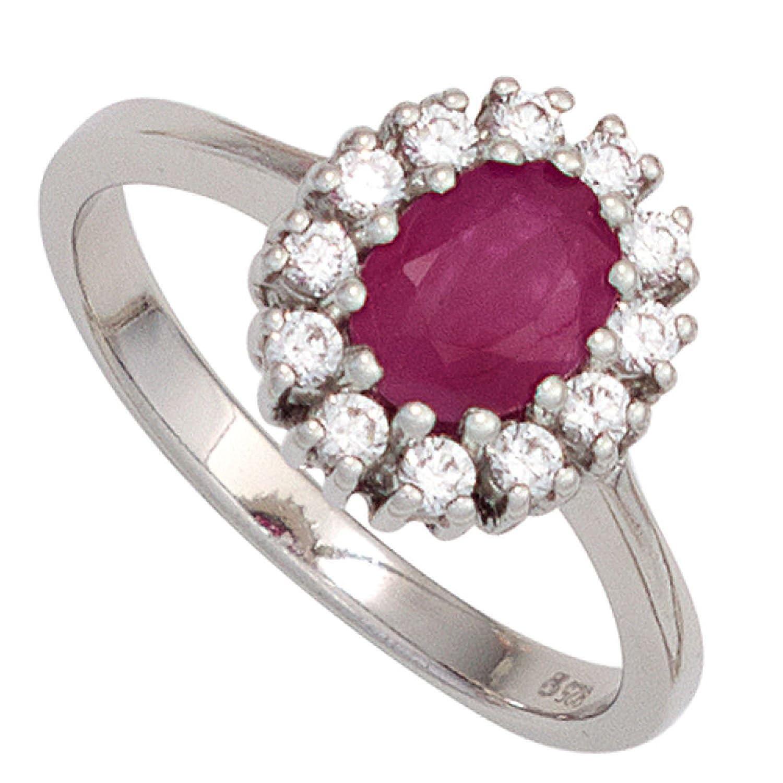 Damen Ring 925 Sterling Silber rhodiniert 1 Rubin rot 12 Zirkonia