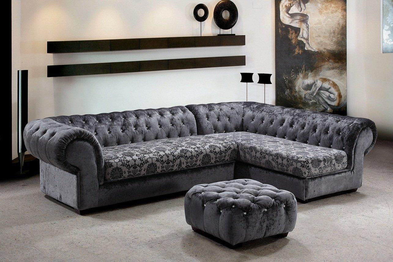 Metropolitan Microfiber Grey Fabric Sectional Sofa & Ottoman