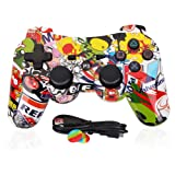 PS3 Controller Wireless Dualshock3 - OUBANG PS3 Remote,Best DS3 Joystick Gift for kids Bluetooth Gaming Sixaxis Control Gamepad Game Accessories for PlayStation3 with micro cable (Graffiti) (Color: Graffiti, Tamaño: 1 pack)