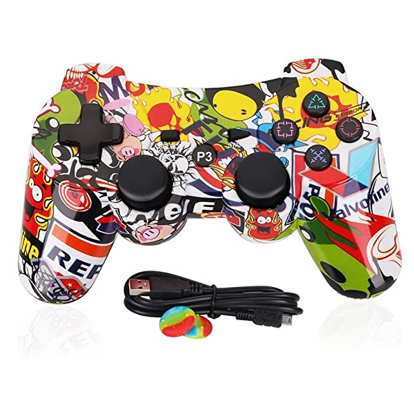 PS3 Controller Wireless Dualshock3 - OUBANG PS3 Remote,Best DS3 Joystick Gift for Kids Bluetooth Gaming Sixaxis Control Gamepad Game Accessories for PlayStation3 with Micro Cable (Graffiti)