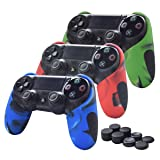 Skin Compatible for PS4 Controller Pandaren Soft Silicone Thicker Half Skin Cover Grip for PS4 /Slim/PRO Controller Set (Skin X 3 + Thumb Grip X 8)(Camouflage Red,Blue,Green) (Color: Camouflage Blue,Camouflage Red,Camouflage Green, Tamaño: PS4)