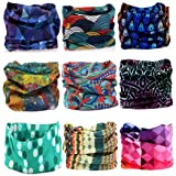 KALILY 9PCS Headband Bandana - Versatile 12-in-1 Sports & Casual Headwear –Multifunctional Seamless Neck Gaiter, Headwrap, Balaclava, Helmet Liner, Face Mask for Camping, Running, Cycling, Fishing etc (Color: Pack W (9PCS), Tamaño: Medium)