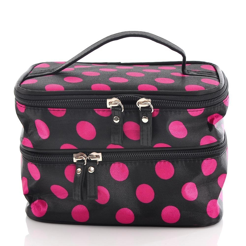 Housweety-Unique-Dots-Pattern-Double-Layer-Cosmetic-Bag-Black-a-dots-