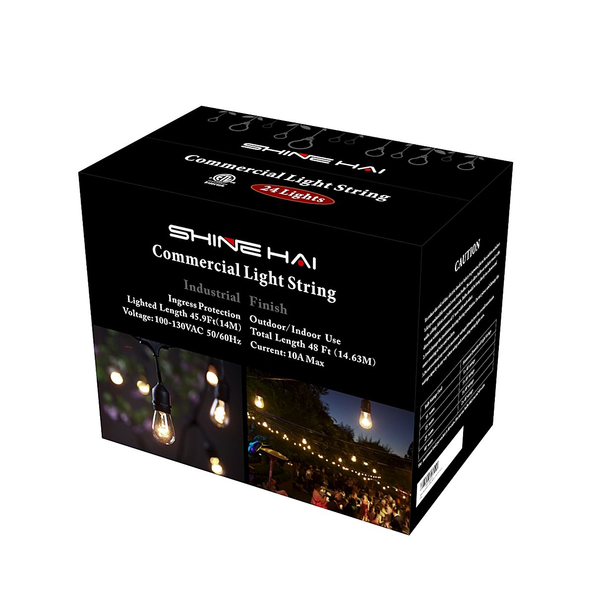 SHINE HAI Outdoor String Lights With 24 Dropped Sockets (26 Bulbs Included) Weatherproof Commercial Grade String Lights Perfect for Patio Lights Party Lights & More, 48 FT String 5