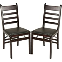 Cosco 2-Pack Wood Folding Chair with Vinyl Seat and Ladder Back (Espresso)