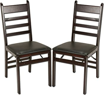 Cosco 2-Pack Wood Folding Chair with Vinyl Seat and Ladder Back