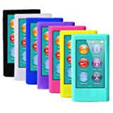 ColorYourLife 7pcs Soft Silicone Gel Skins Cases Covers for New iPod Nano 7th Generation with Screen Protector in Retail Packaging (Color: Multicolor)