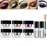 Glitter Eyeshadow Palette, RUIMIO 6 Colors Highly Pigmented Eye Glitter with Gel and Brush for Party Festival Eyeshadow, Makeup, Nail Art (Color: 6pcs)