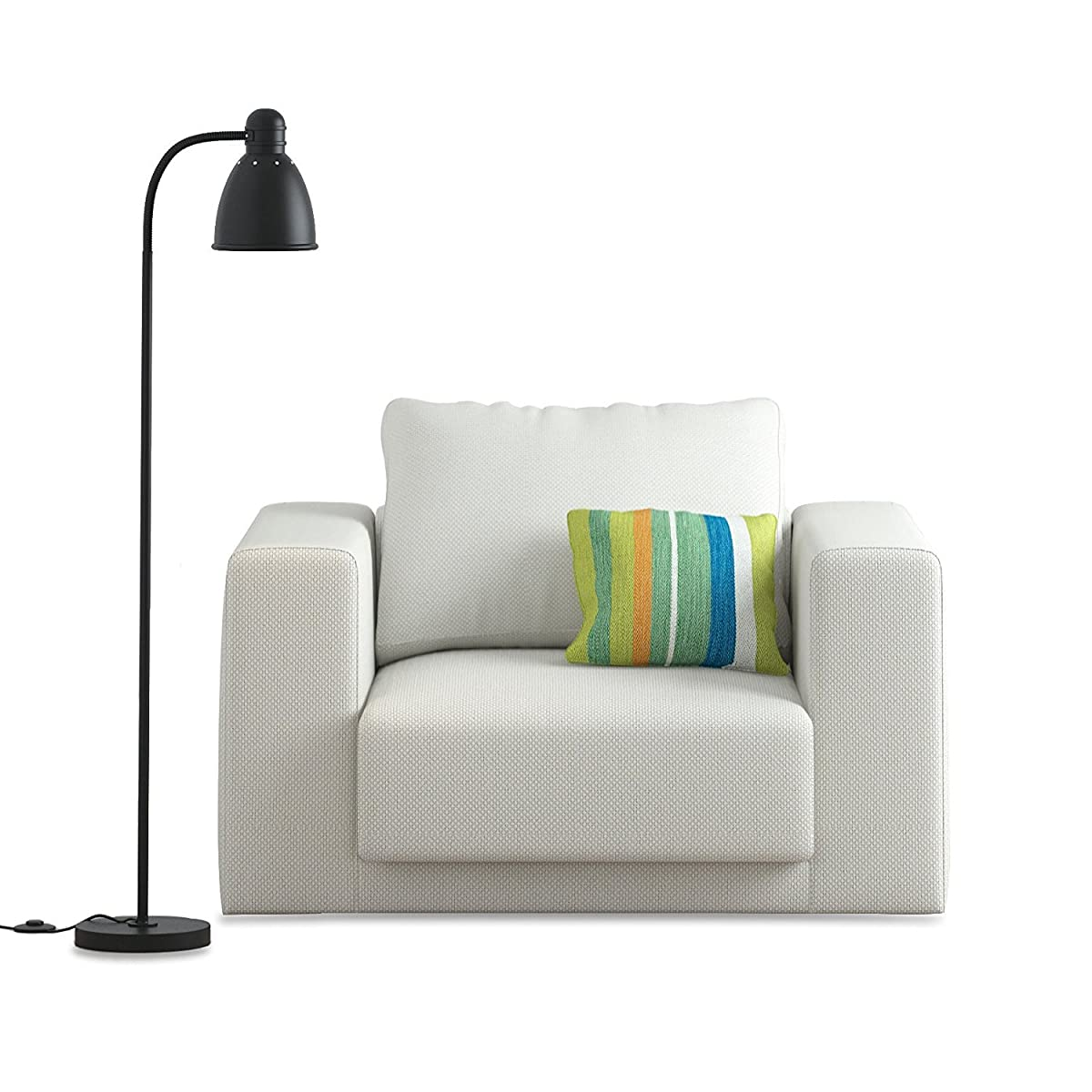 WALLNITURE Adjustable Reading Floor Lamp with Foot Control On Off Switch Black