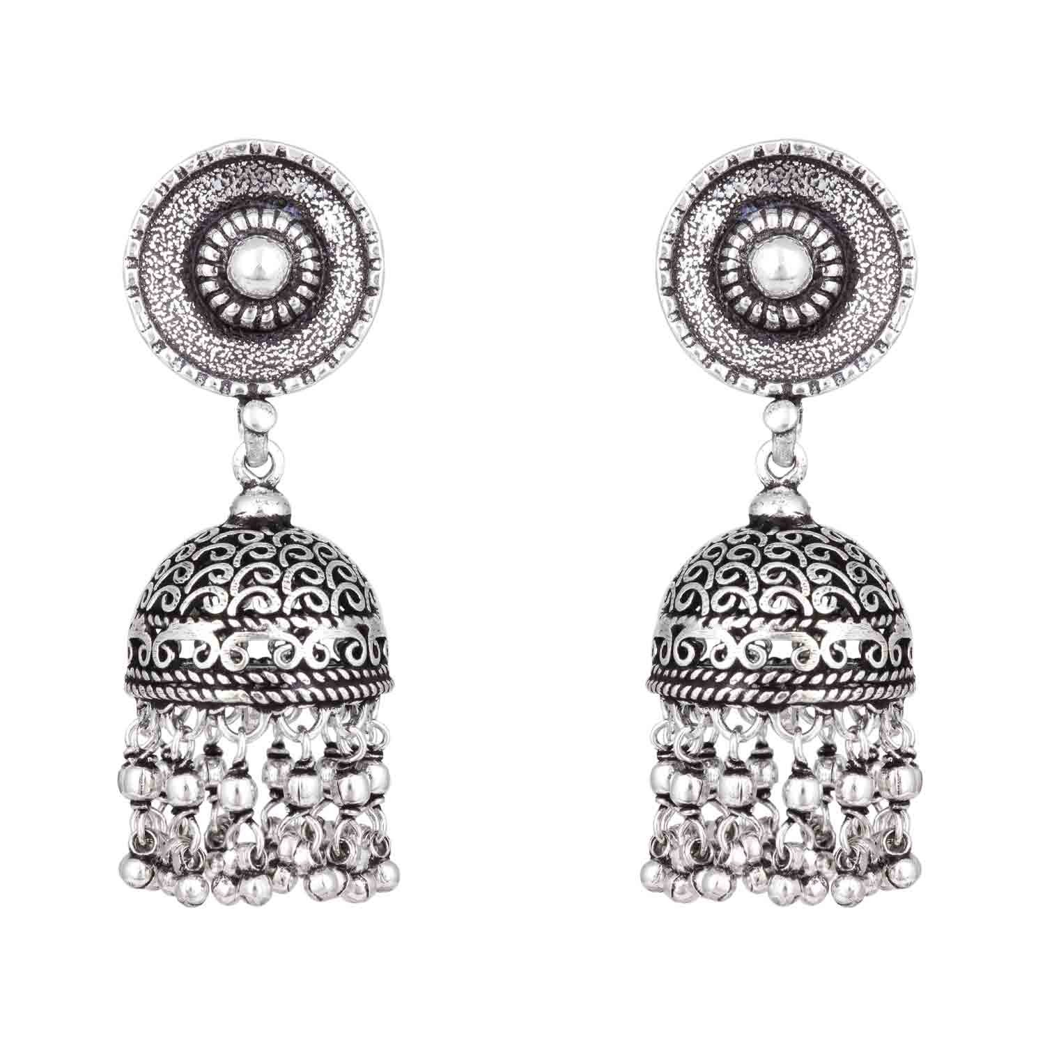 Silver Beaded Jhumka Earrings on heavenkart